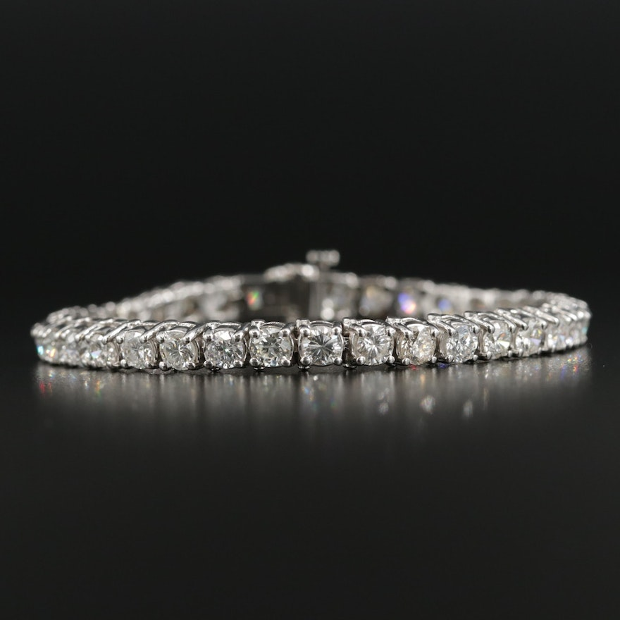 14K White Gold 9.21 CTW Diamond Line Bracelet