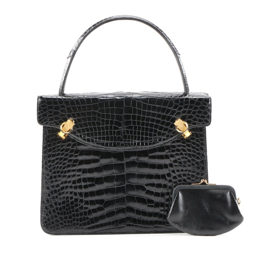 Rendl Original Black Alligator Handbag, Mid-20th Century