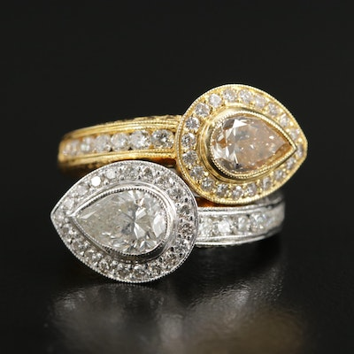 18K Gold 3.61 CTW Diamond Bypass Ring