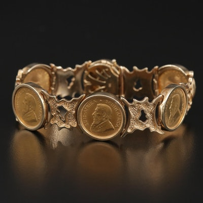 9K Gold Bracelet with South African Gold Krugerrands