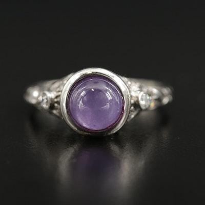 Platinum Purple Sapphire and Diamond Ring