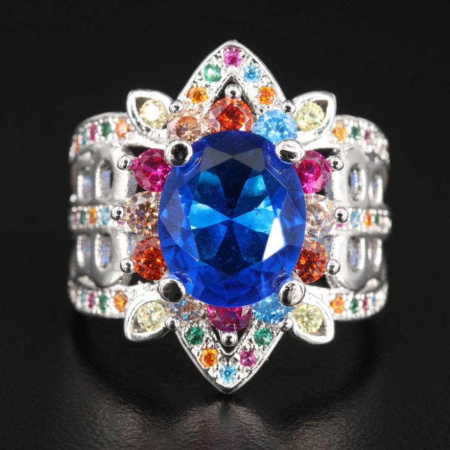 Cubic Zirconia and Synthetic Ruby Ring