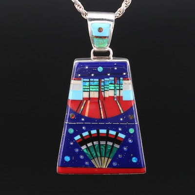 Southwestern Sterling Silver Gemstone Inlay Pendant Necklace