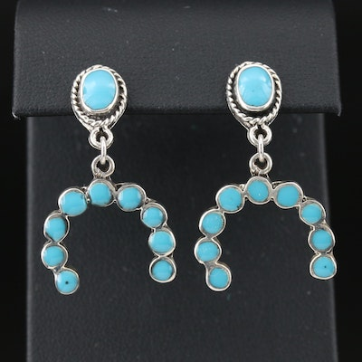 Mexican Sterling Silver Turquoise Dangle Earrings