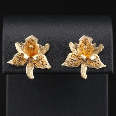 14K Yellow Gold Orchid Earrings