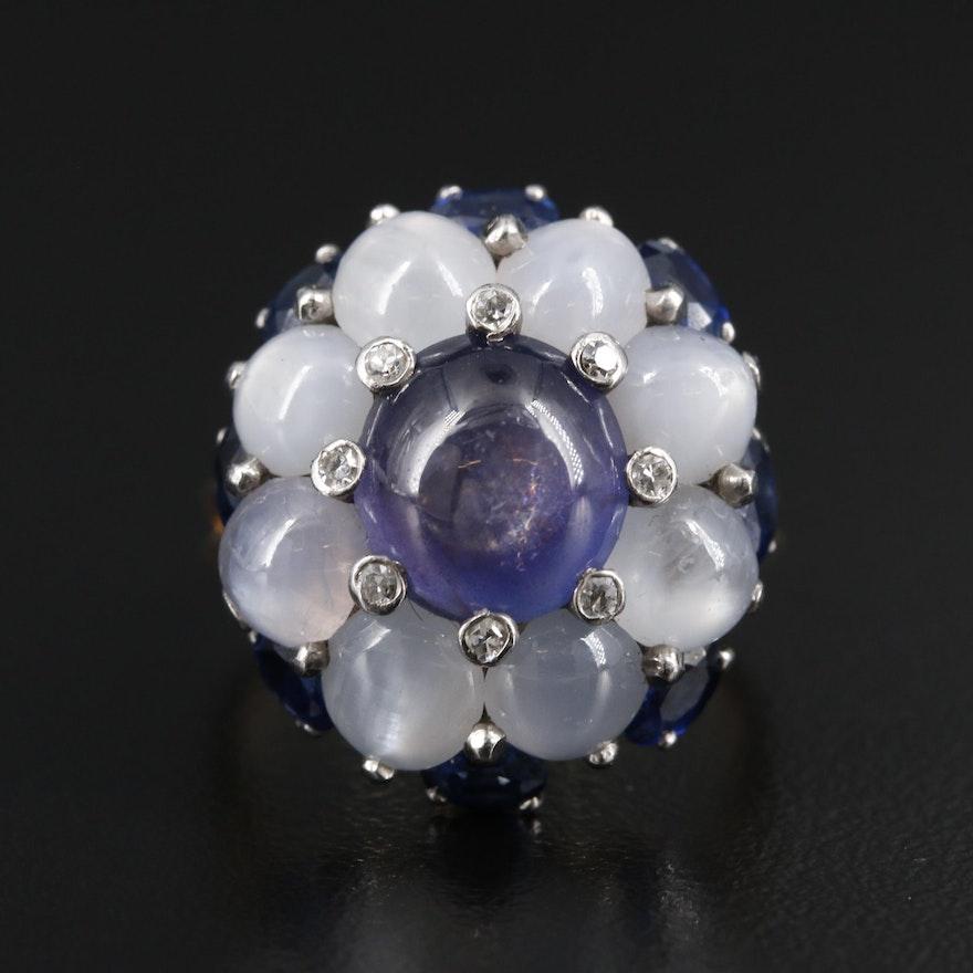 1940s 18K and Palladium Star Sapphire, Diamond and Sapphire Ring