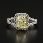 14K Gold 2.07 CTW Diamond Ring with GIA Report and 18K Accents