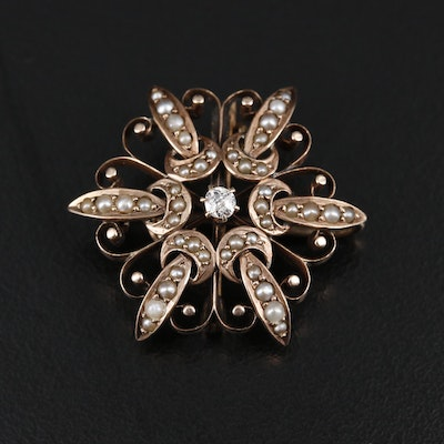 Victorian 10K Gold Diamond and Pearl Converter Brooch