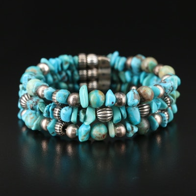 Carolyn Pollack for Relios Sterling Silver Turquoise Multi-Strand Cuff