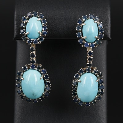 14K Gold Turquoise and Sapphire Dangle Earrings