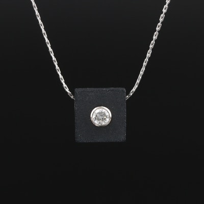 Signed 18K White Gold Black Onyx and Diamond Pendant Necklace