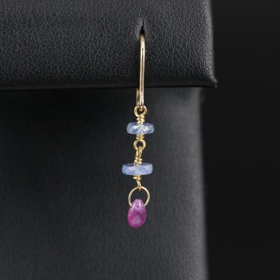 18K Yellow Gold Ruby and Sapphire Single Earring