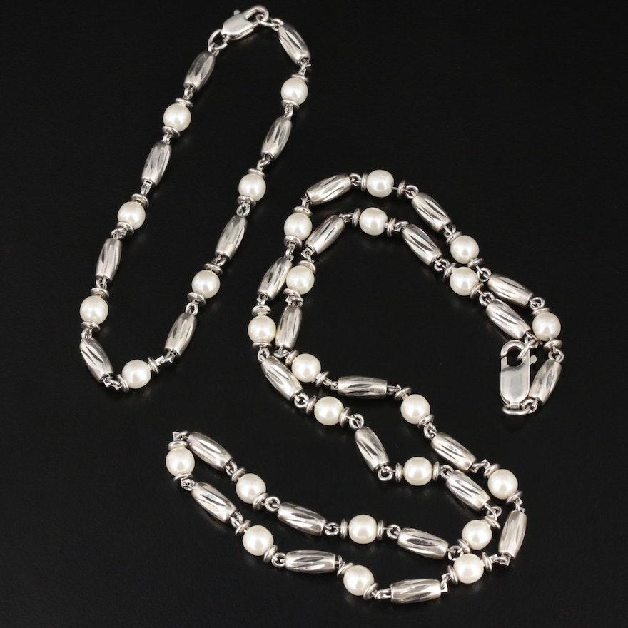 Imitation Pearl Necklace and Bracelet Set Including Sterling Silver