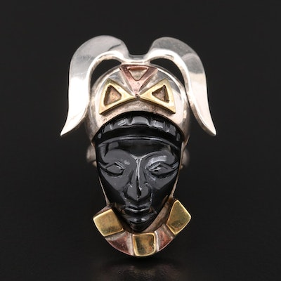 Mexican Sterling Silver Glass Carved Figural Ring