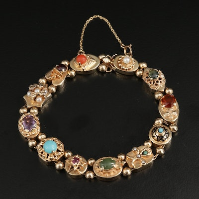 Vintage Style 14K Bracelet Including Ruby, Coral, Cultured Peal and Nephrite