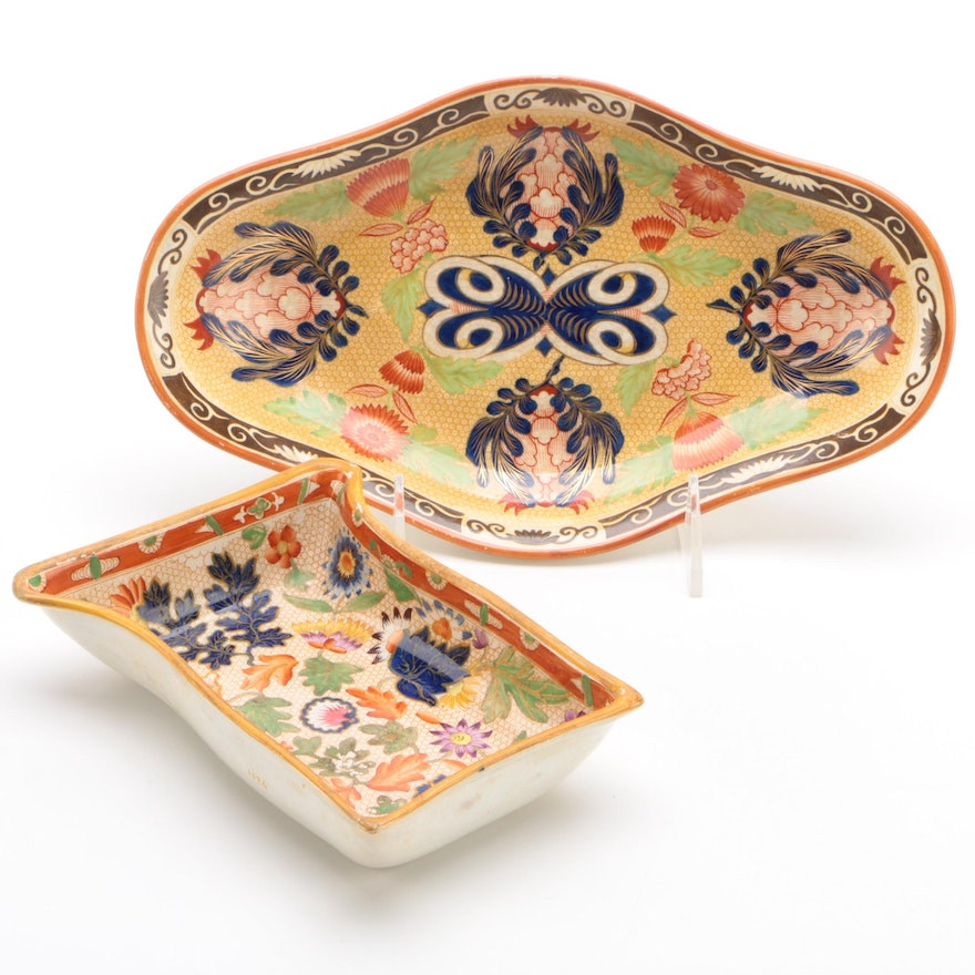 """Wedgwood """"Chrysanthemum"""" Highly Colored Shaped Dishes, Circa 1815"""