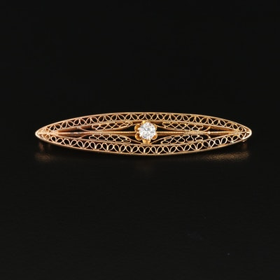Circa 1900s 14K Yellow Gold Diamond Filigree Brooch