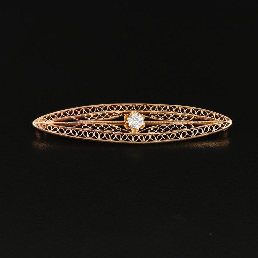 Circa 1900s 14K Yellow Gold Diamond Filigree Brooch