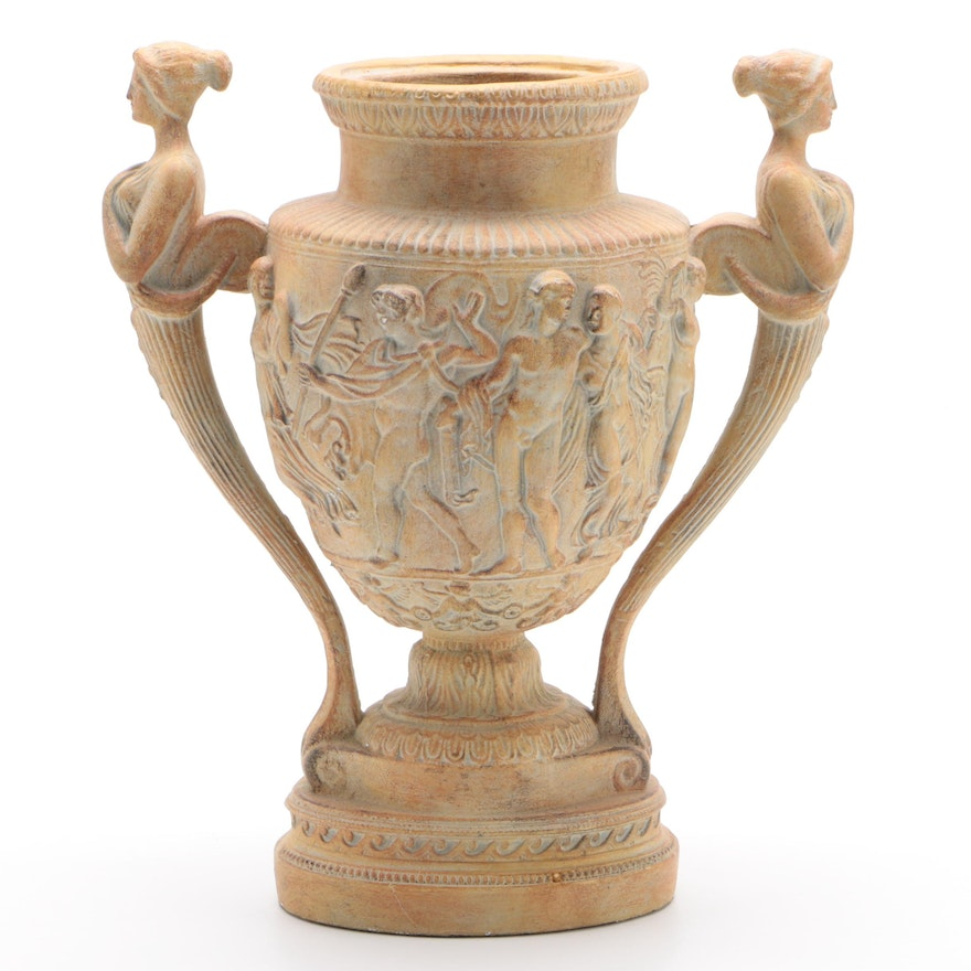 Greco-Roman Style Plaster Handled Urn with Relief Decoration