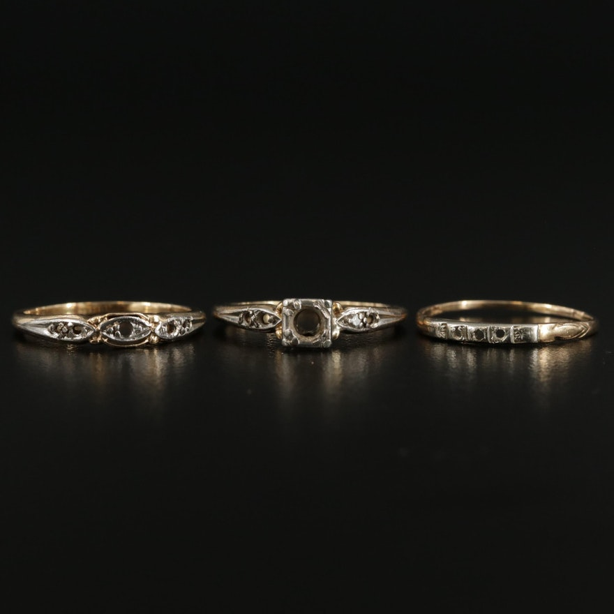 14K Yellow Gold Diamond Ring with Palladium Accents