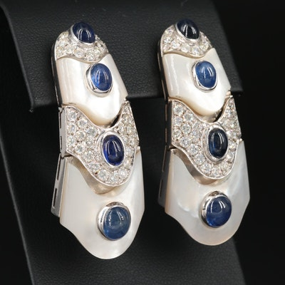 18K Gold Articulated Sapphire, Mother of Pearl and 2.90 CTW Diamond Earrings