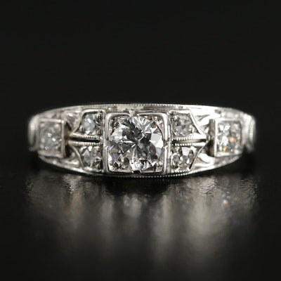 Vintage 14K White Gold Diamond Ring with Palladium Accent