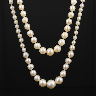 14K Gold Graduated Pearl Double-Strand Necklace
