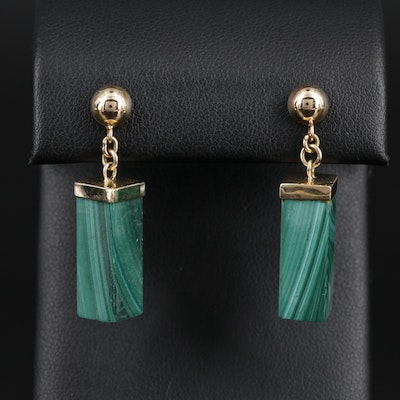 14K Yellow Gold Rectangular Malachite Column Dangle Earrings