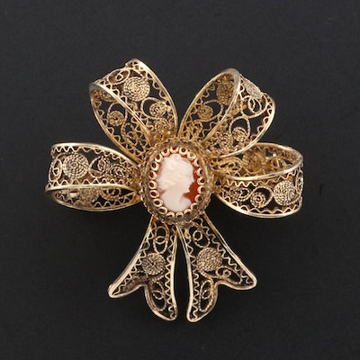 Circa 1930's Helmet Shell Cameo Bow Brooch Featuring Filigree Design