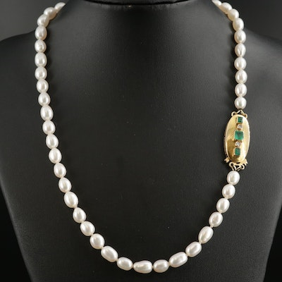 Cultured Pearl Beaded Necklace with Vintage 14K Diamond and Emerald Clasp