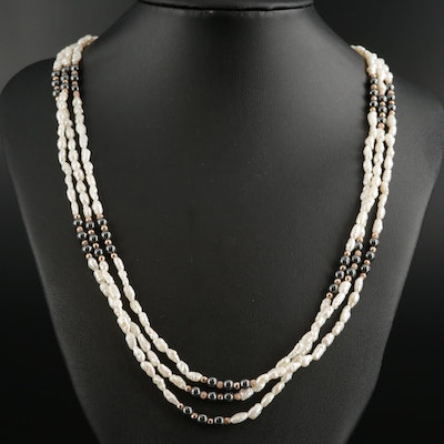 Cultured Pearl and Hematite Multi-Strand Necklace