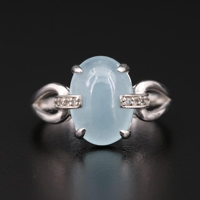 Sterling Silver Aquamarine and White Topaz Ring