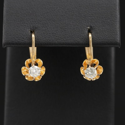 Vintage Russian 14K Diamond Buttercup Drop Earrings