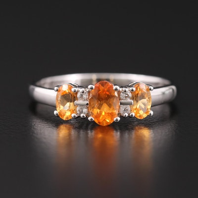 Sterling Silver, Spessartine Garnet and Topaz Ring