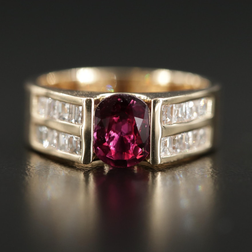 14K Yellow Gold 1.25 CT Ruby and Diamond Ring