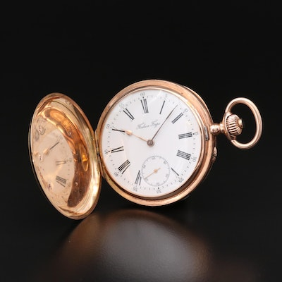 14K Hunting Case Pocket Watch With 18K  Russian Double Headed Enameled Motif