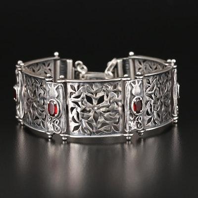 Sterling Silver Garnet Openwork Panel Bracelet