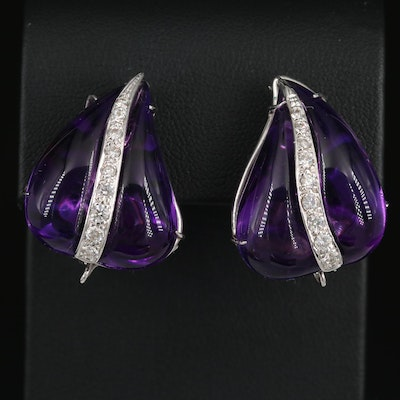 14K White Gold Amethyst and Diamond Button Clip-On Earrings