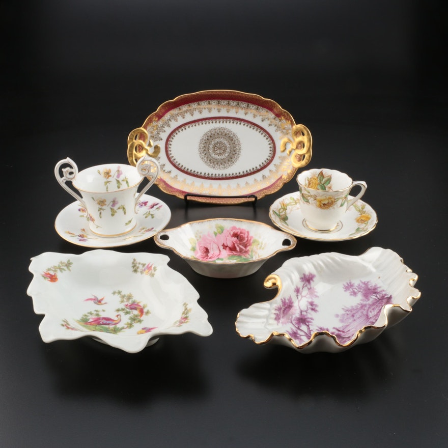 French Porcelain and English Bone China Serveware and Teacups and Saucers