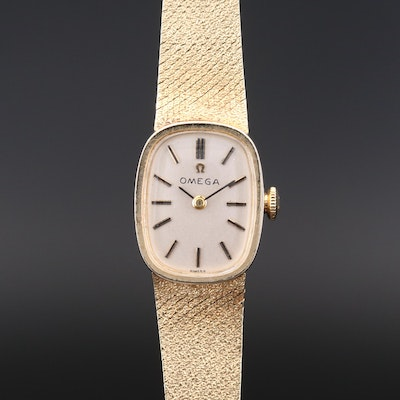 Vintage Omega 14K Yellow Gold Stem Wind Wristwatch