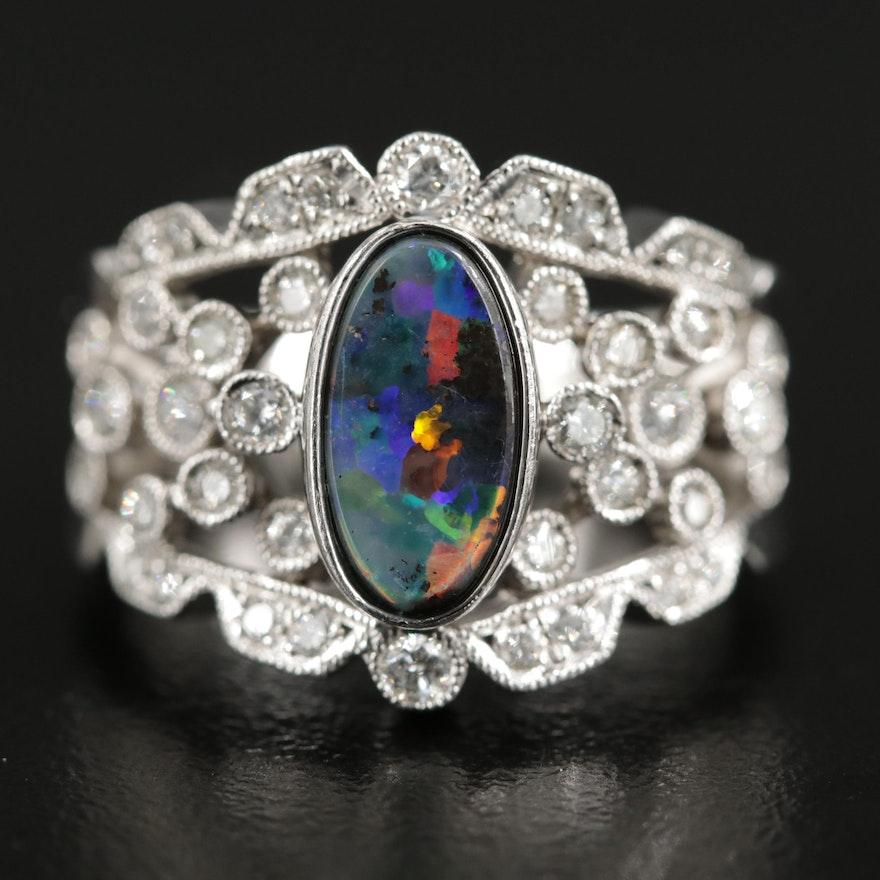 Platinum Black Opal and Diamond Openwork Ring