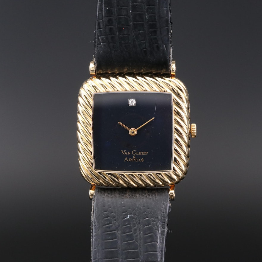 Vintage Concord For Van Cleef & Arpels Diamond and 18K Gold Wristwatch