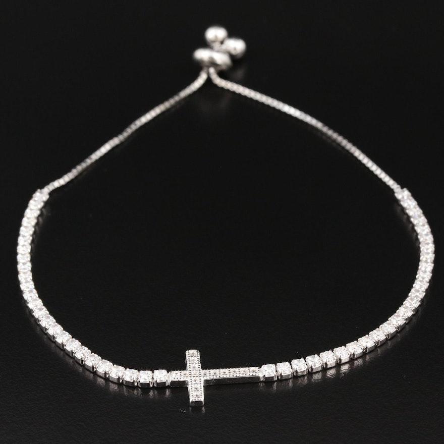 Sterling Cubic Zirconia Cross Bolo Bracelet
