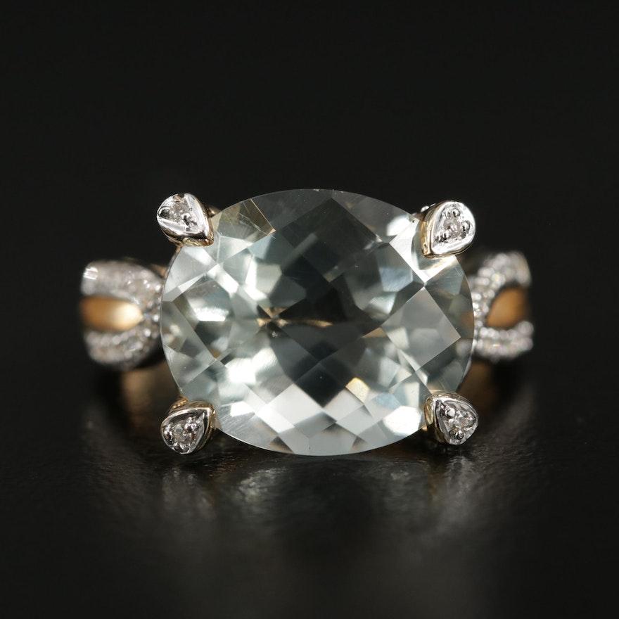14K Yellow Gold Prasiolite and Diamond Ring