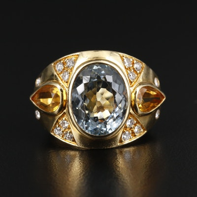 18K Gold Topaz, Citrine and Diamond Ring
