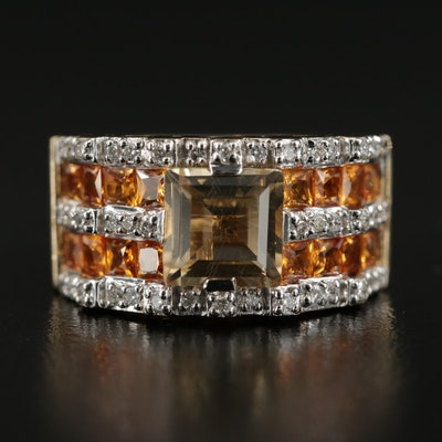 14K Yellow Gold Citrine, Diamond and Yellow Sapphire Ring