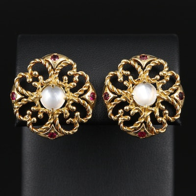 18K Gold Moonstone and Ruby Openwork Button Earrings
