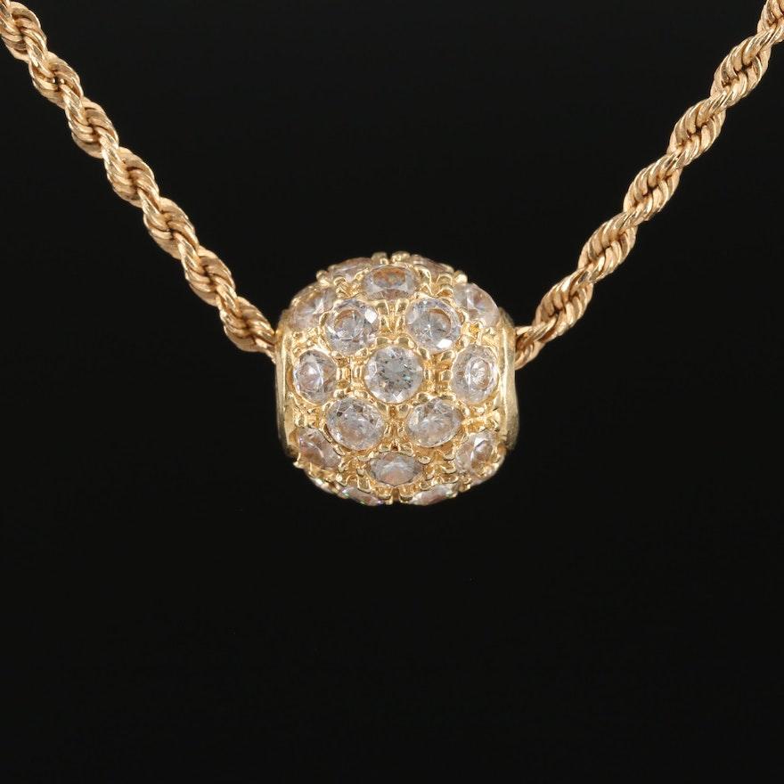 14K Gold Cubic Zirconia Cluster Pendant Necklace