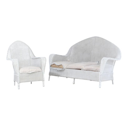 Arched Wicker Sofa and Armchair, Mid-20th Century