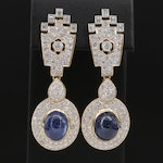 18K Gold 17.28 CTW Blue Sapphire and 4.75 CTW Diamond Earrings with GIA Reports